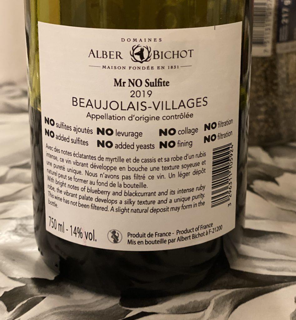 Mr No Sulfite baksida etikett
